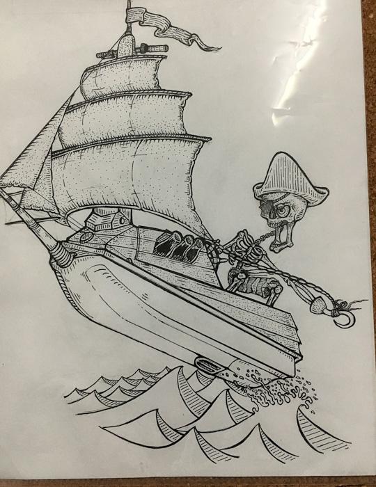 Inking & Cleaning up design | Captain Skinner Jet Ski Pirate Ship logo