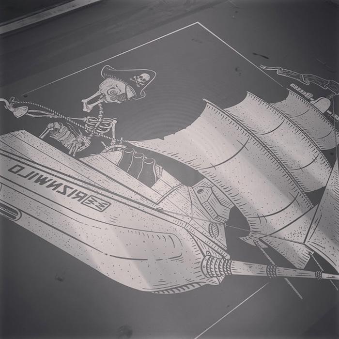 Screen Printing Screen Burn Jet Ski Pirate Ship