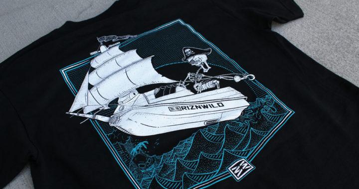 Captain Skinner screen printed black pirate ship te