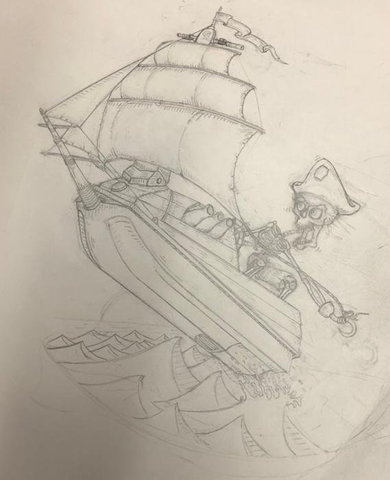 Pencil Sketch | Captain Skinner Jet Ski Pirate Ship logo