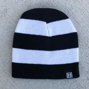 RIZNWILD POW Stripped Beanie black and white