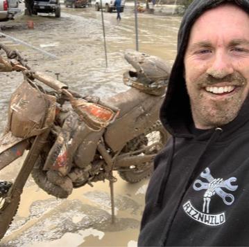 Randy mud life sporting RIZNWILD hoodie
