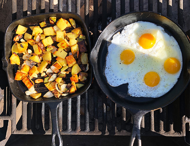 Camping meal breakfast potatoes and over easy eggs | RIZNWILD
