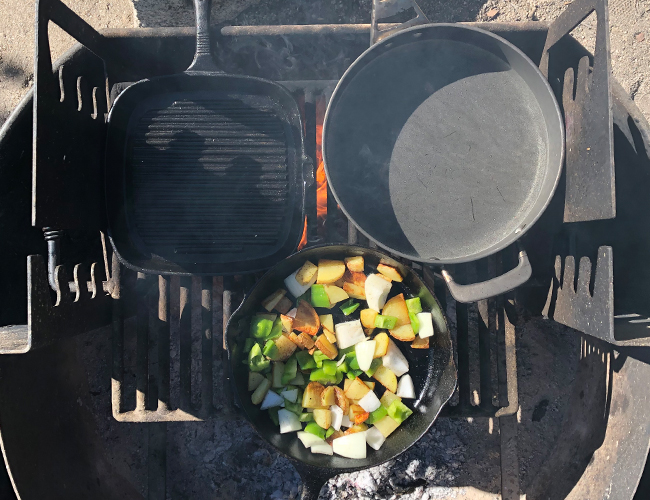 Cast Iron Cooking on Fire Pit Breakfast | RIZNWILD